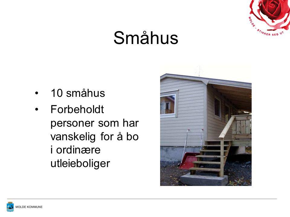Småhus 10 småhus Forbeholdt personer som har vanskelig for å bo i ordinære utleieboliger