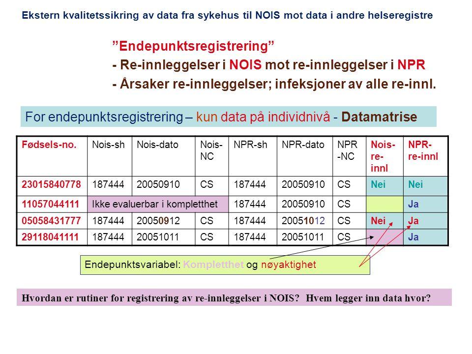 For endepunktsregistrering – kun data på individnivå - Datamatrise