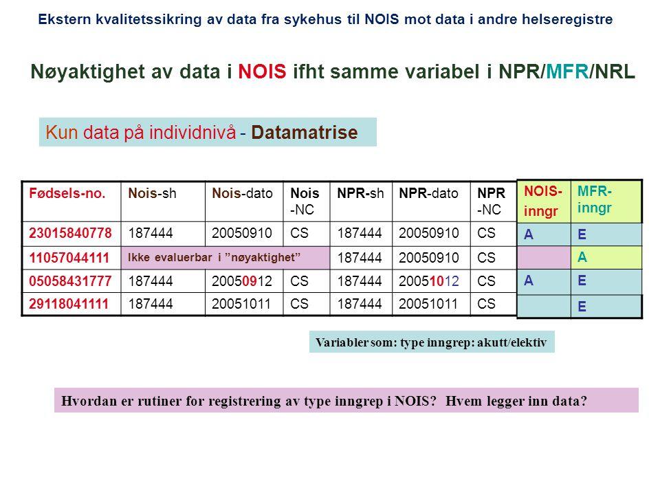 Nøyaktighet av data i NOIS ifht samme variabel i NPR/MFR/NRL
