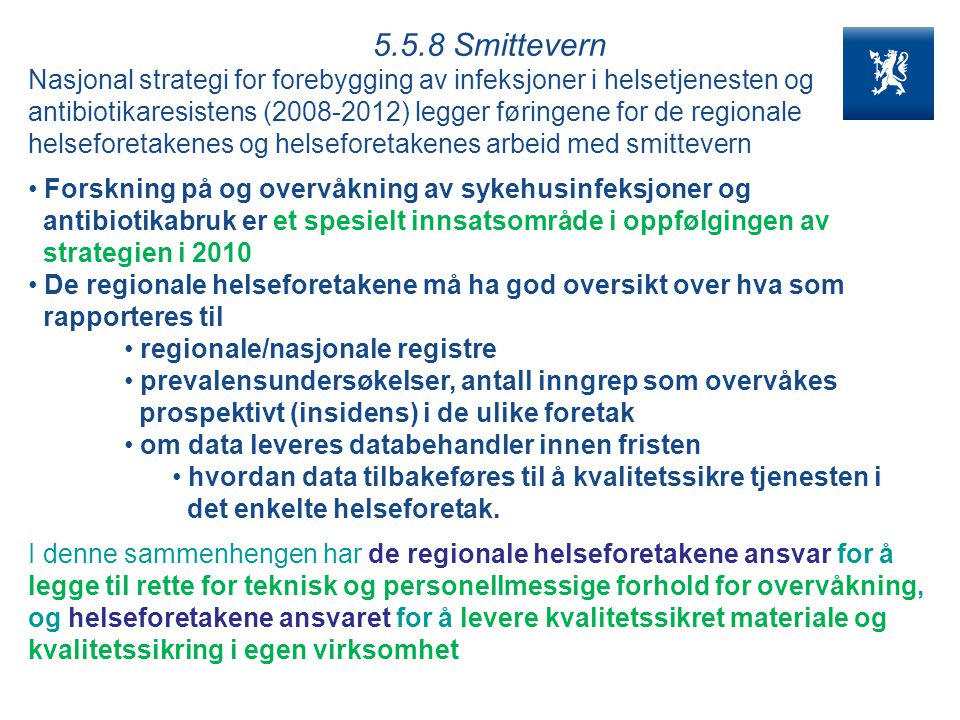 5.5.8 Smittevern