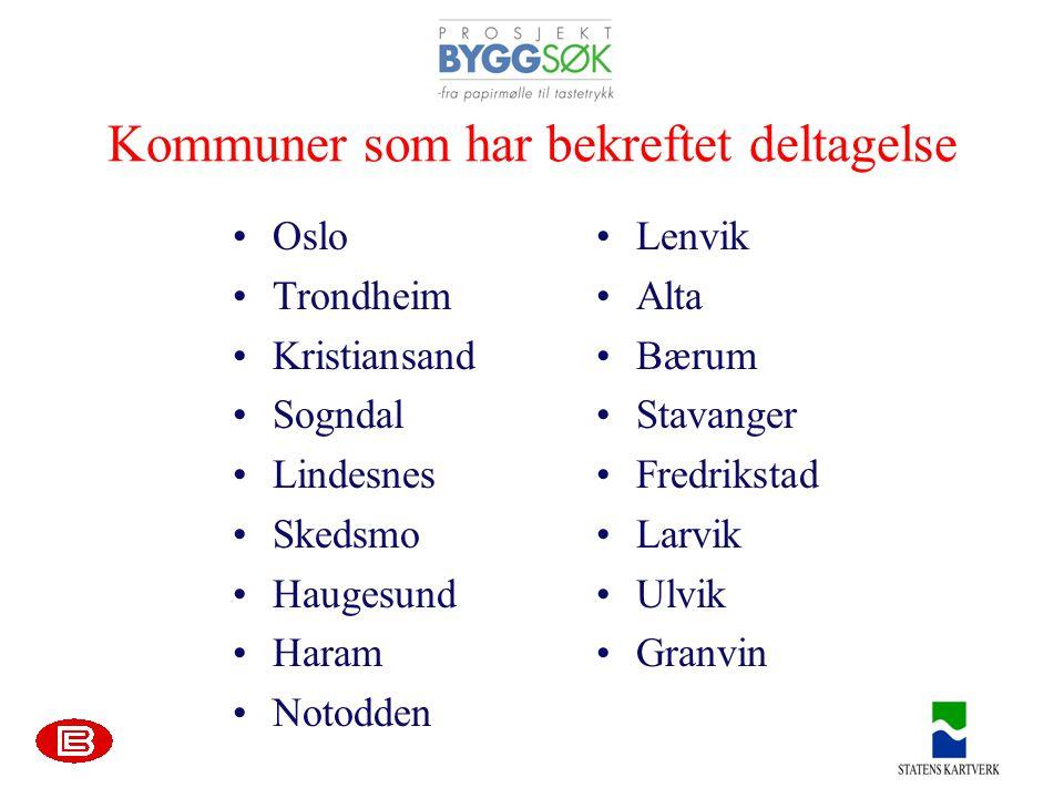 Kommuner som har bekreftet deltagelse