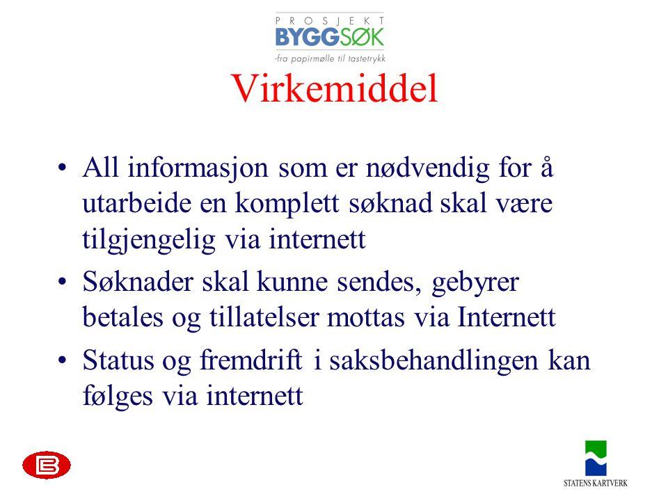 Virkemiddel All informasjon som er nødvendig for å utarbeide en komplett søknad skal være tilgjengelig via internett.