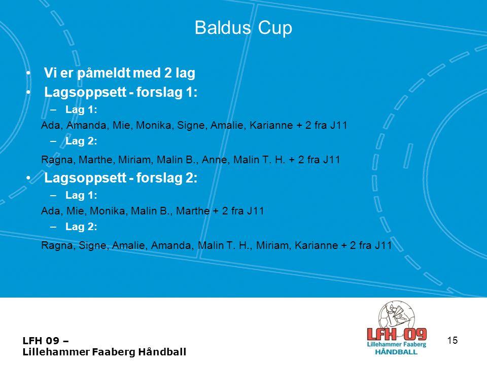 Baldus Cup Vi er påmeldt med 2 lag Lagsoppsett - forslag 1: