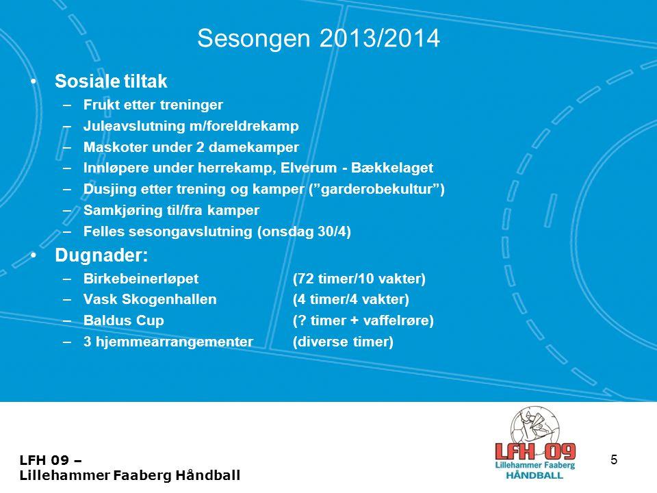 Sesongen 2013/2014 Sosiale tiltak Dugnader: Frukt etter treninger
