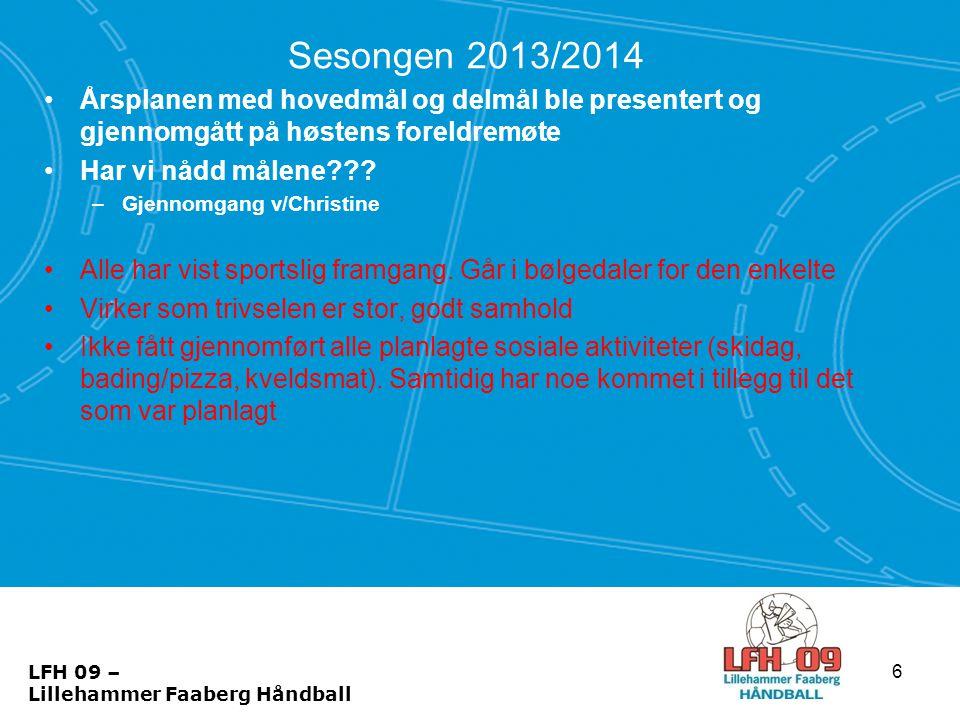 Sesongen 2013/2014 Årsplanen med hovedmål og delmål ble presentert og gjennomgått på høstens foreldremøte.