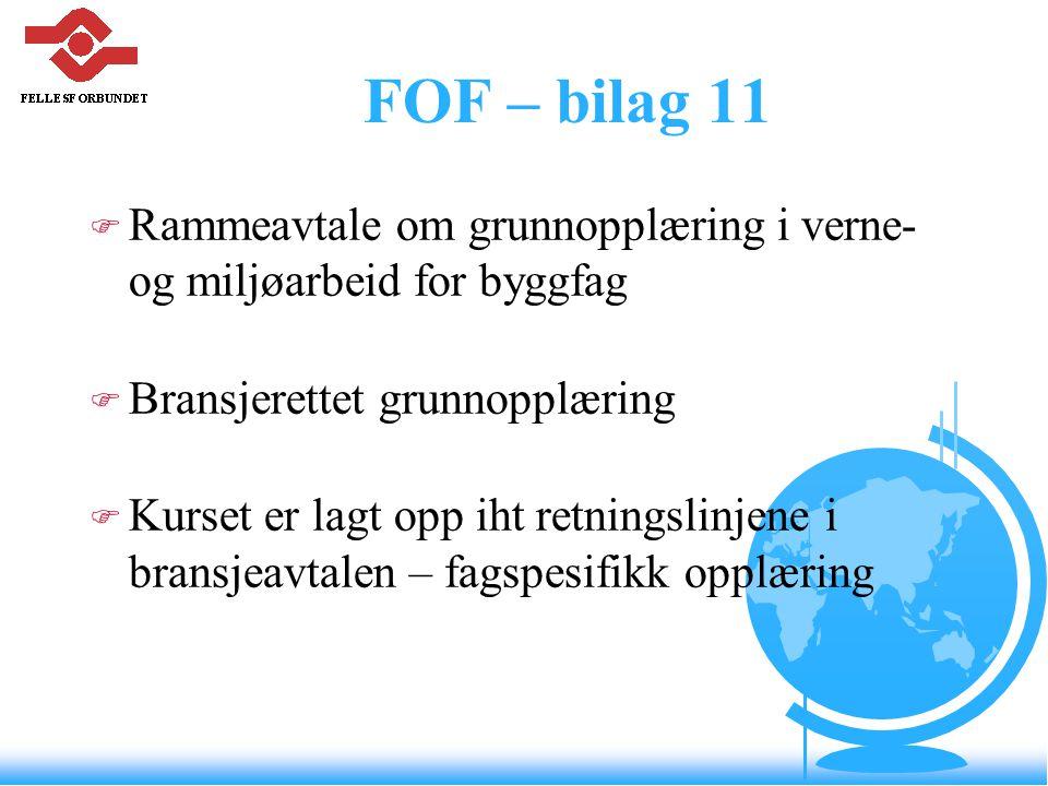 FOF – bilag 11 Rammeavtale om grunnopplæring i verne- og miljøarbeid for byggfag. Bransjerettet grunnopplæring.