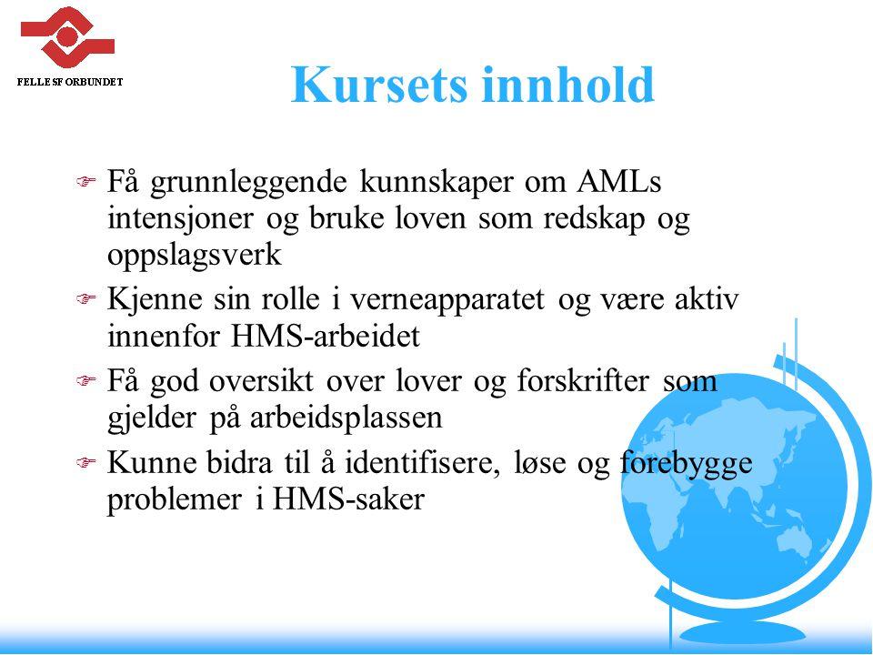 Kursets innhold Få grunnleggende kunnskaper om AMLs intensjoner og bruke loven som redskap og oppslagsverk.