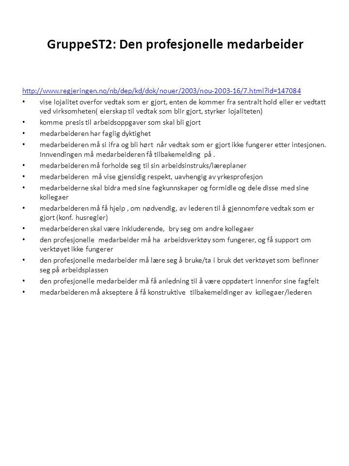 GruppeST2: Den profesjonelle medarbeider