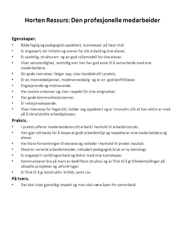 Horten Ressurs: Den profesjonelle medarbeider