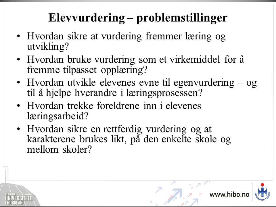 Elevvurdering – problemstillinger