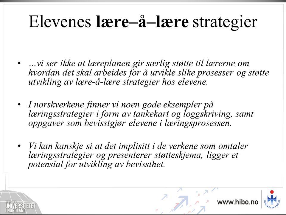 Elevenes lære–å–lære strategier