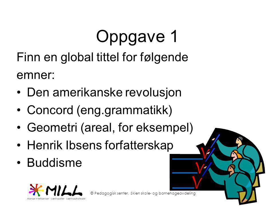 Oppgave 1 Finn en global tittel for følgende emner: