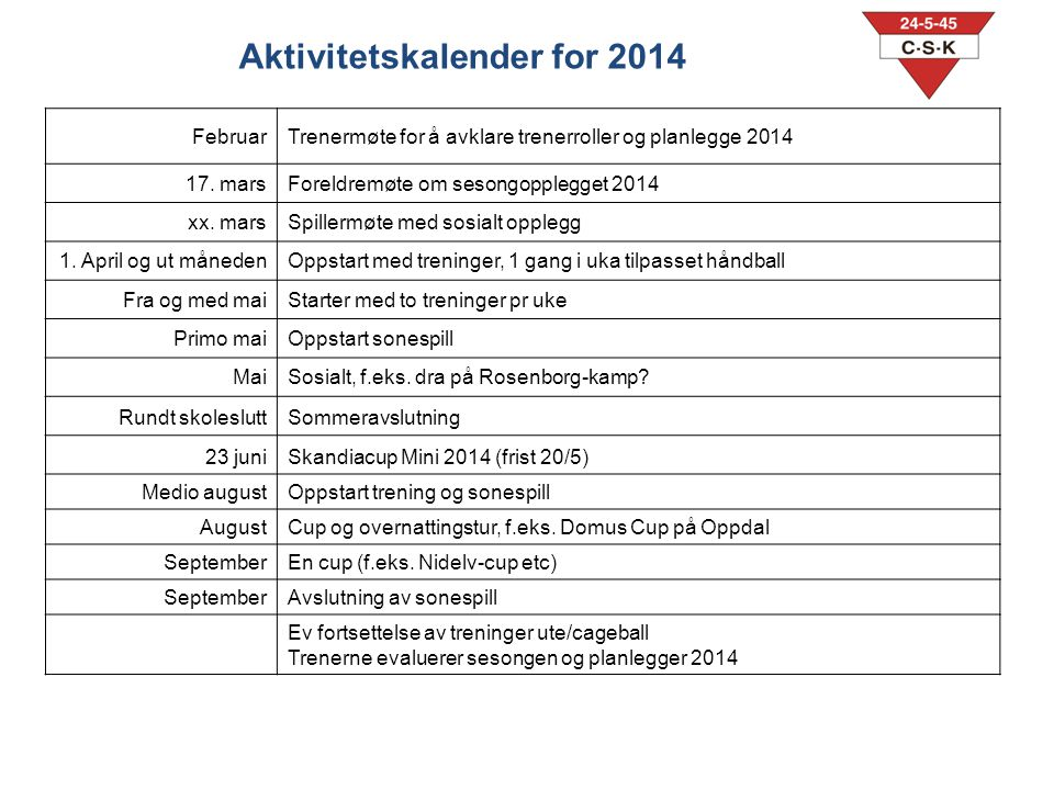 Aktivitetskalender for 2014
