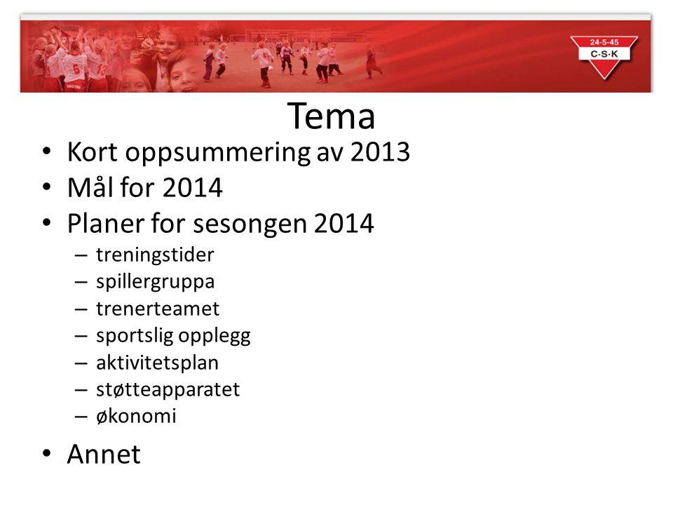 Tema Kort oppsummering av 2013 Mål for 2014 Planer for sesongen 2014