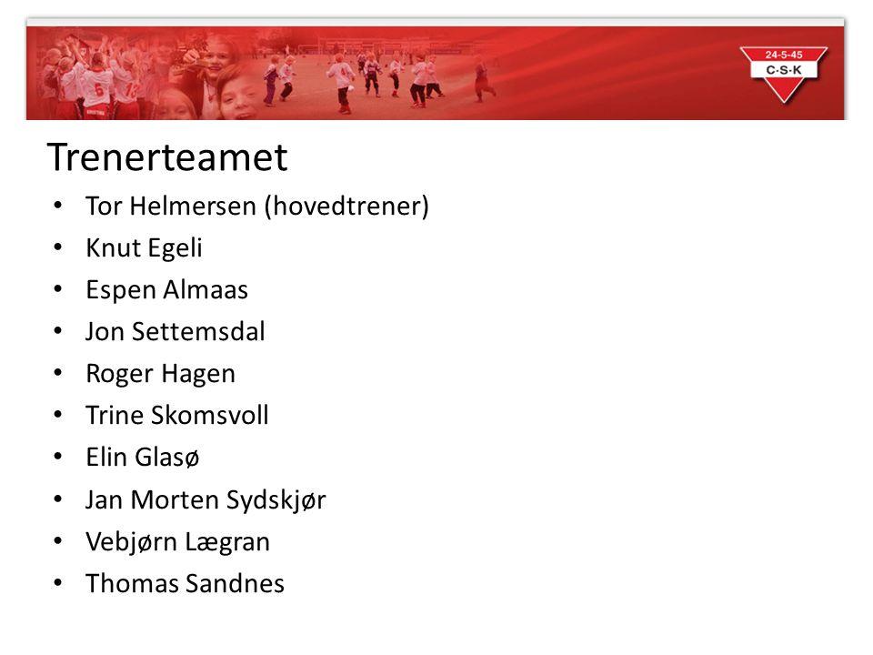 Trenerteamet Tor Helmersen (hovedtrener) Knut Egeli Espen Almaas