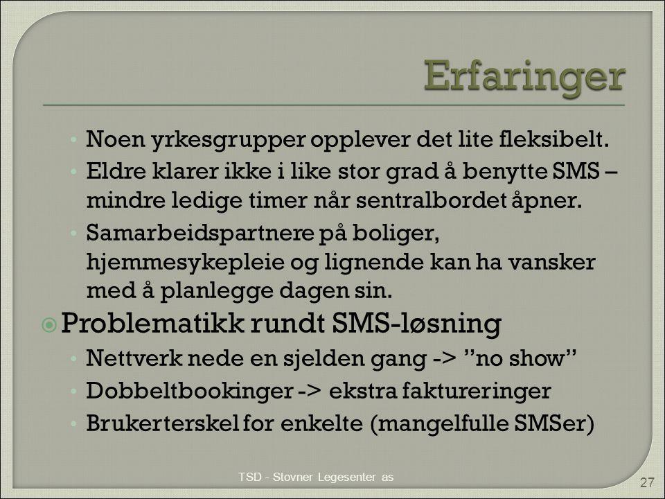 Erfaringer Problematikk rundt SMS-løsning