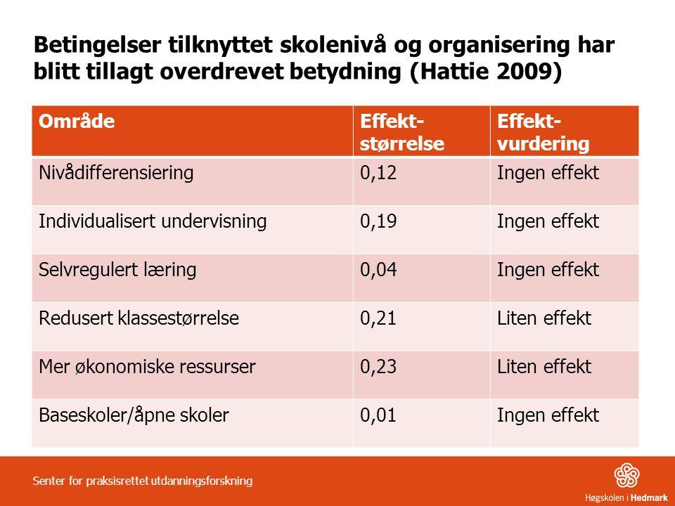 Betingelser tilknyttet skolenivå og organisering har blitt tillagt overdrevet betydning (Hattie 2009)