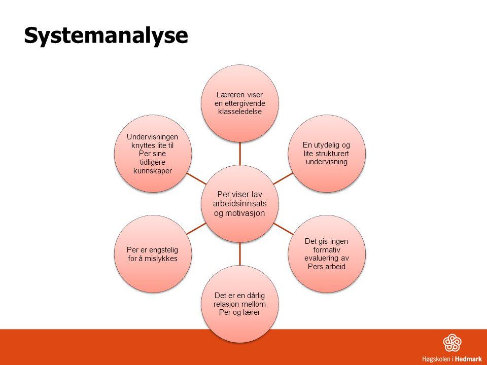 Systemanalyse Per viser lav arbeidsinnsats og motivasjon