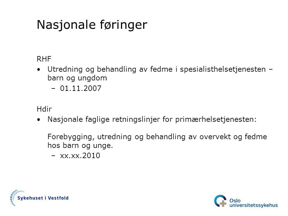 Nasjonale føringer RHF