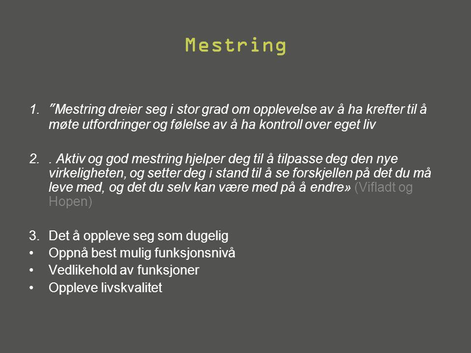 Mestring Mestring dreier seg i stor grad om opplevelse av å ha krefter til å møte utfordringer og følelse av å ha kontroll over eget liv.