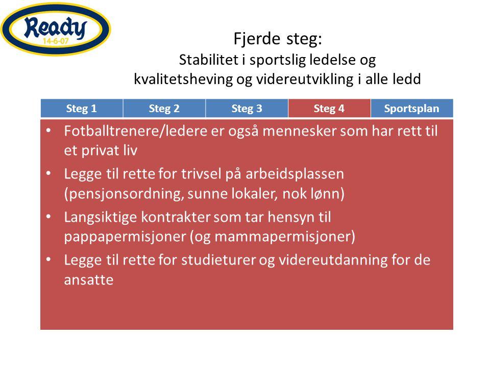 Fjerde steg: Stabilitet i sportslig ledelse og kvalitetsheving og videreutvikling i alle ledd