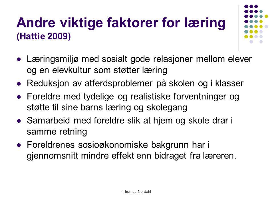 Andre viktige faktorer for læring (Hattie 2009)