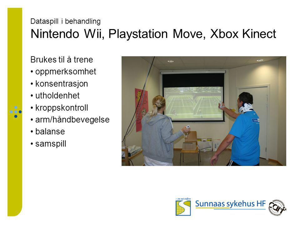Dataspill i behandling Nintendo Wii, Playstation Move, Xbox Kinect