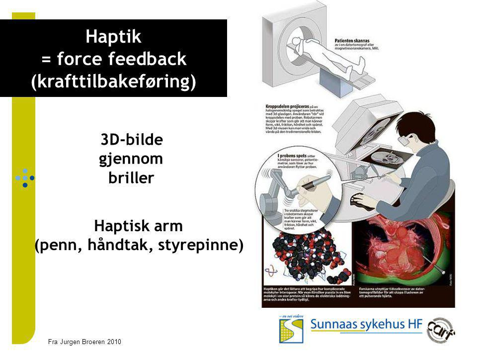 Styrgrupp Haptik = force feedback (krafttilbakeføring)