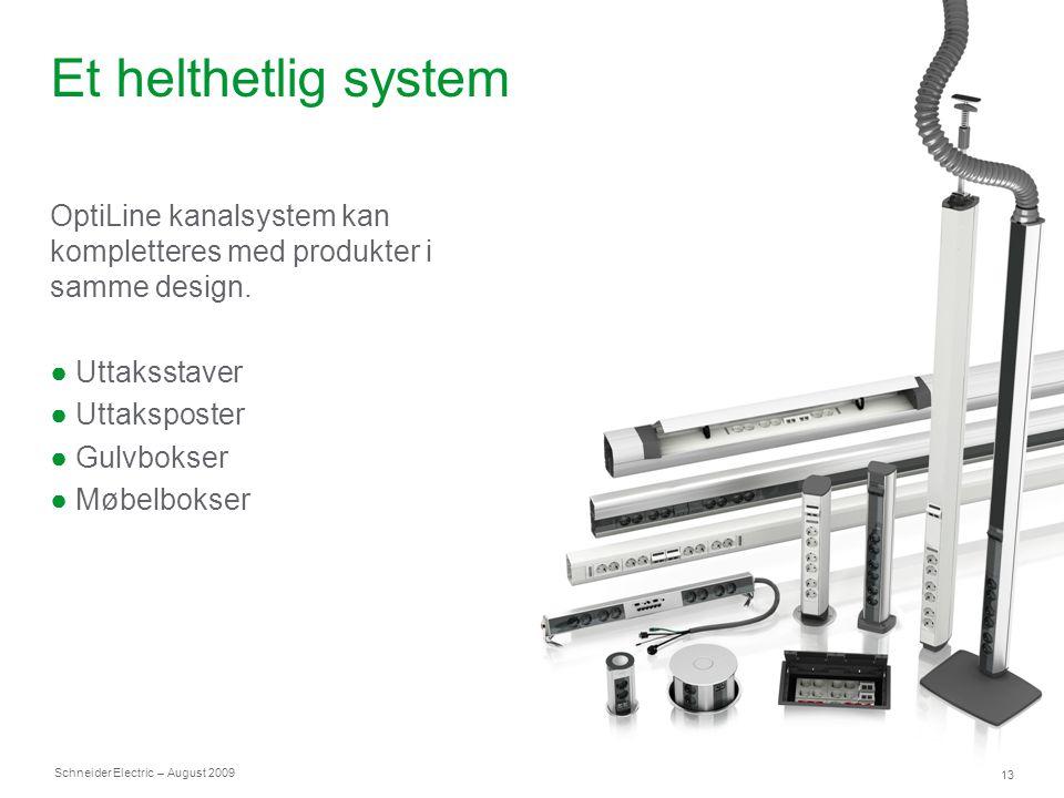 Et helthetlig system OptiLine kanalsystem kan kompletteres med produkter i samme design. Uttaksstaver.
