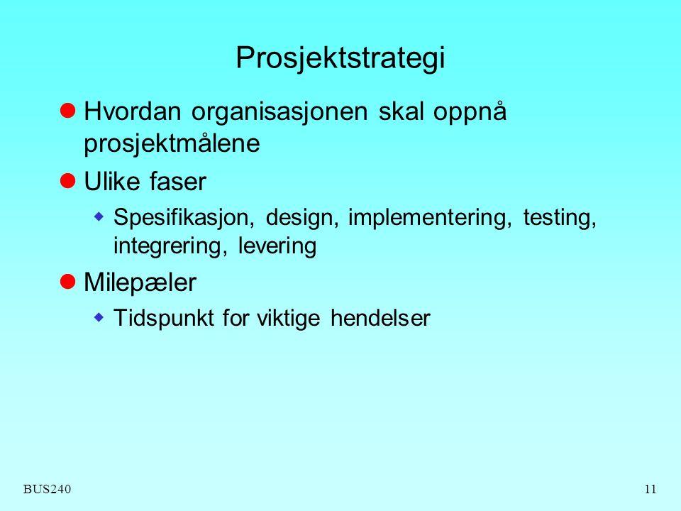 Prosjektstrategi Hvordan organisasjonen skal oppnå prosjektmålene