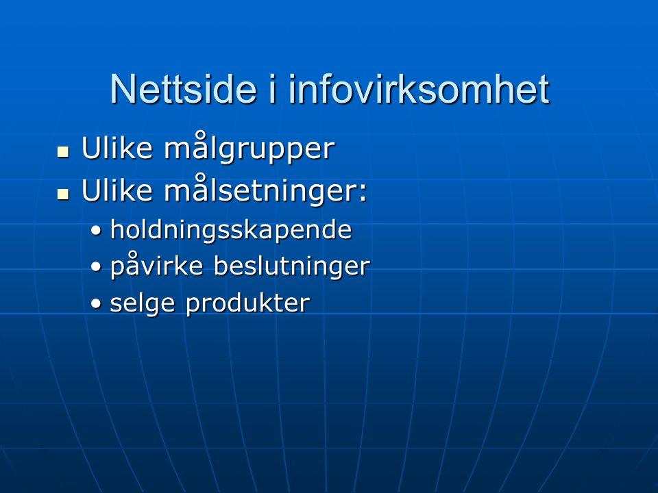 Nettside i infovirksomhet
