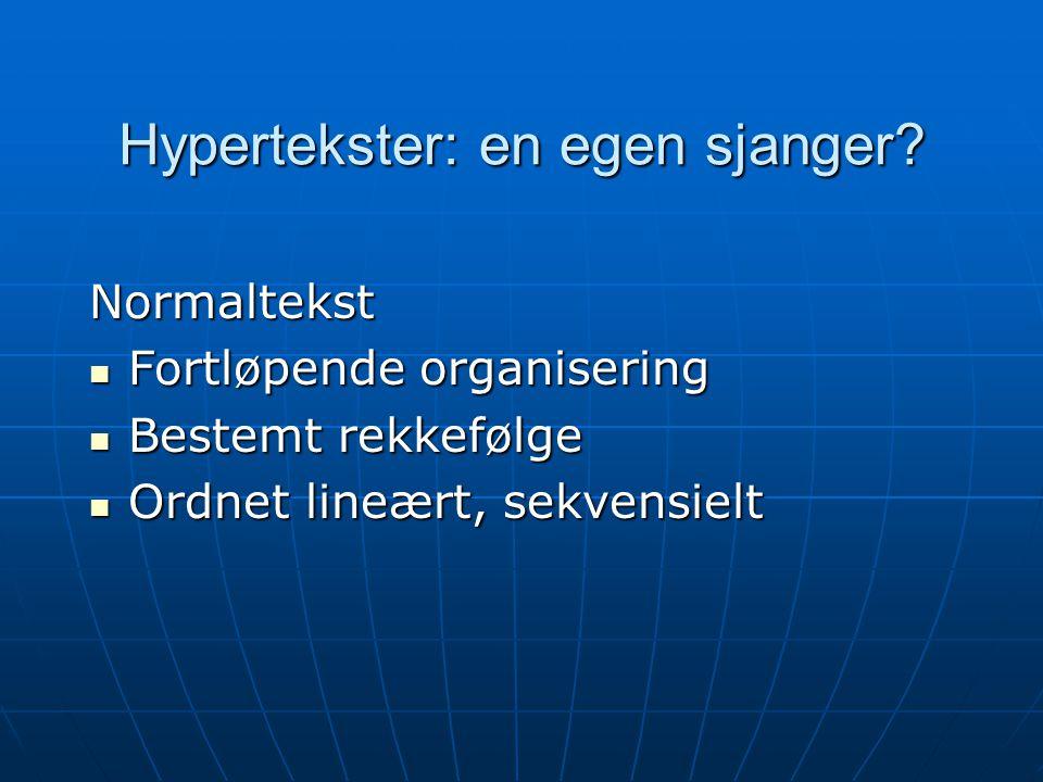 Hypertekster: en egen sjanger