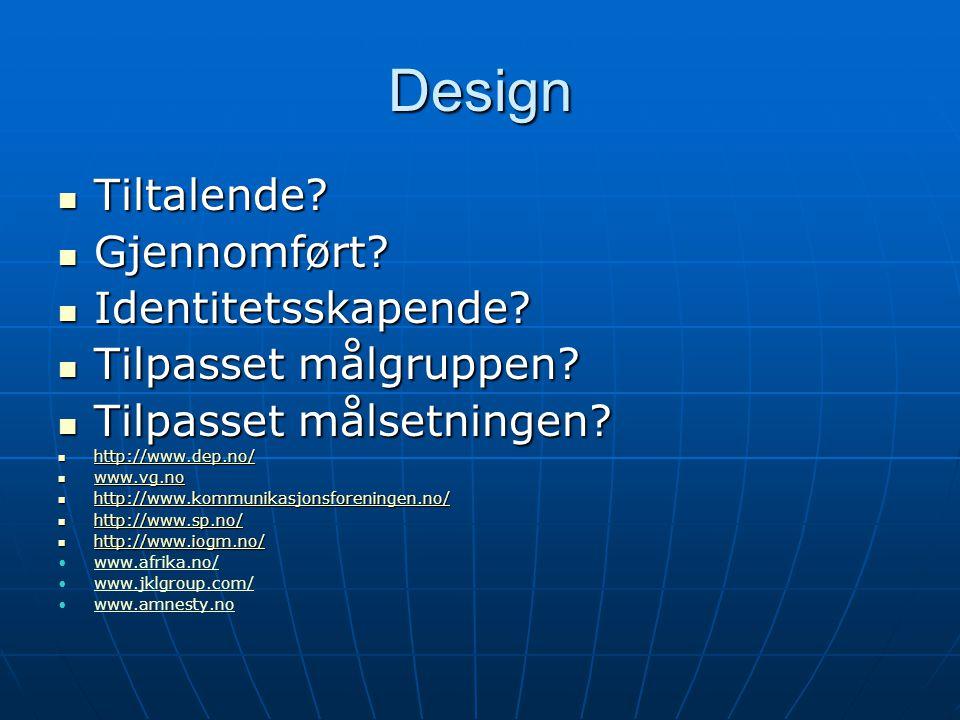 Design Tiltalende Gjennomført Identitetsskapende