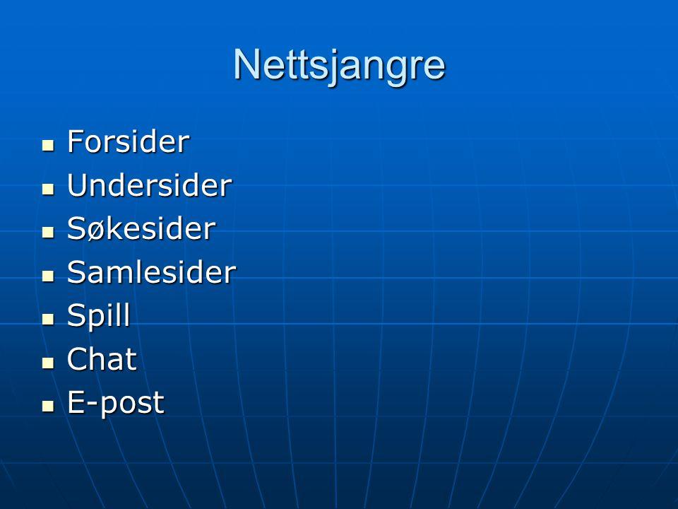 Nettsjangre Forsider Undersider Søkesider Samlesider Spill Chat E-post