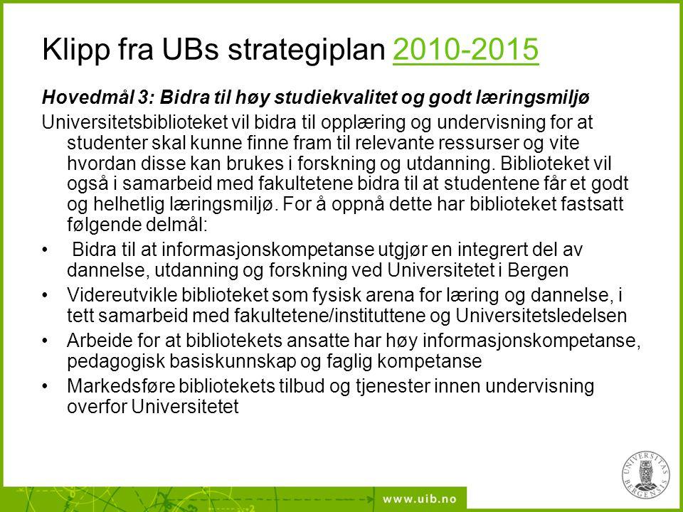 Klipp fra UBs strategiplan 2010-2015