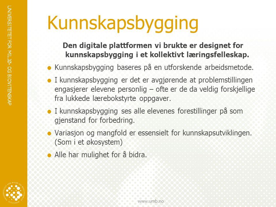 Kunnskapsbygging Den digitale plattformen vi brukte er designet for kunnskapsbygging i et kollektivt læringsfelleskap.