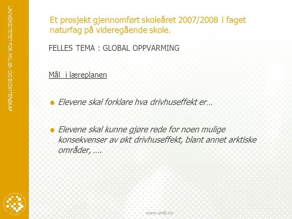 Et prosjekt gjennomført skoleåret 2007/2008 i faget naturfag på videregående skole.