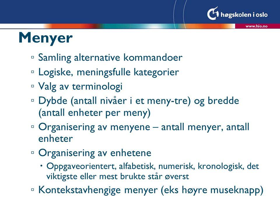 Menyer Samling alternative kommandoer Logiske, meningsfulle kategorier
