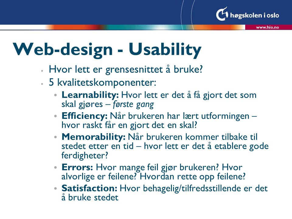 Web-design - Usability