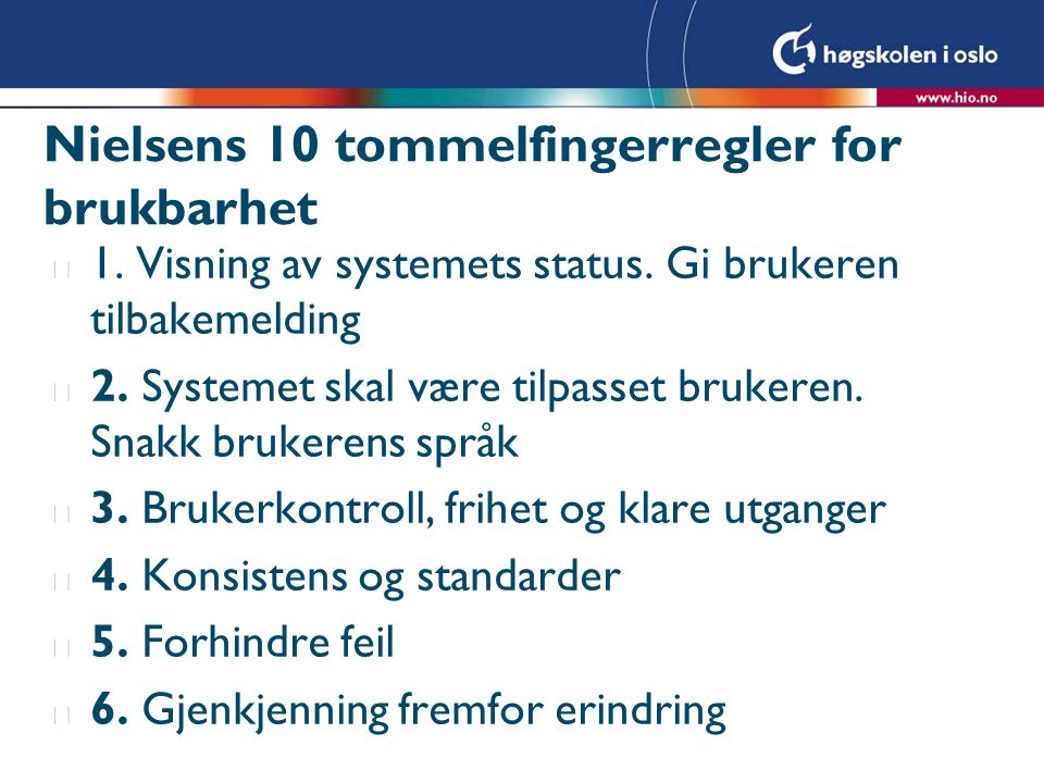 Nielsens 10 tommelfingerregler for brukbarhet