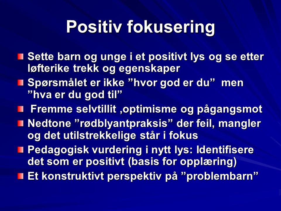 Positiv fokusering Sette barn og unge i et positivt lys og se etter løfterike trekk og egenskaper.