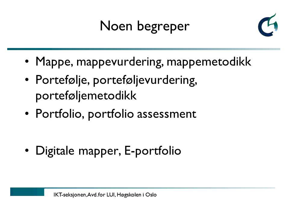 Noen begreper Mappe, mappevurdering, mappemetodikk