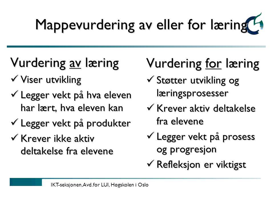 Mappevurdering av eller for læring