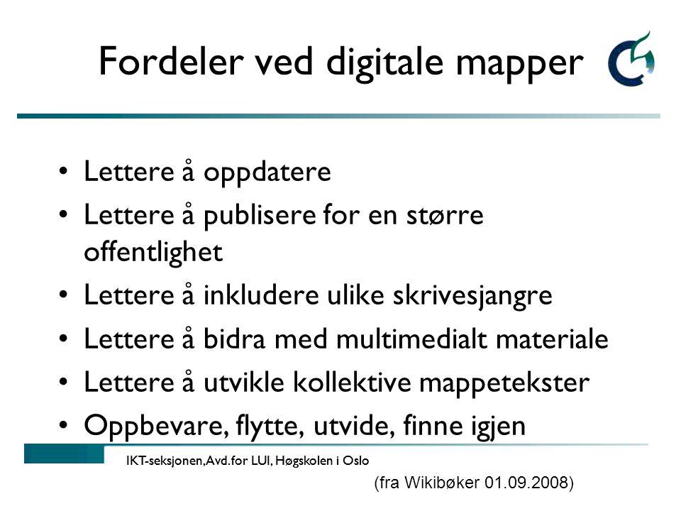 Fordeler ved digitale mapper