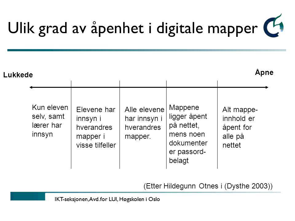 Ulik grad av åpenhet i digitale mapper