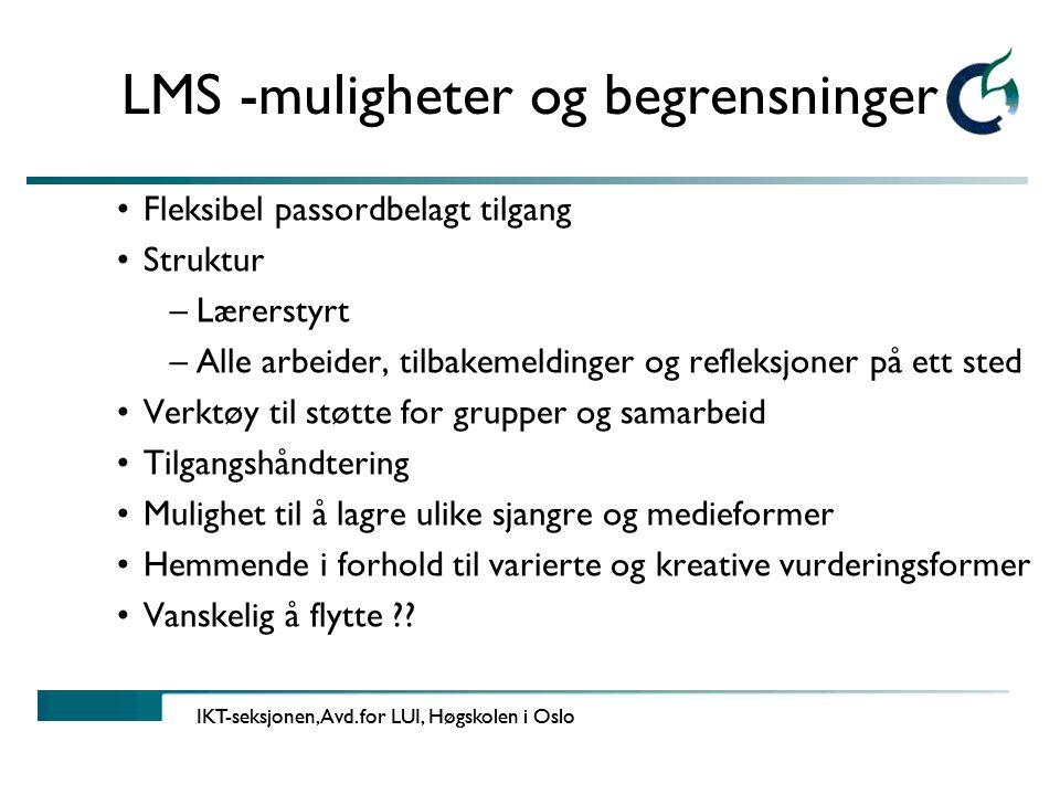 LMS -muligheter og begrensninger