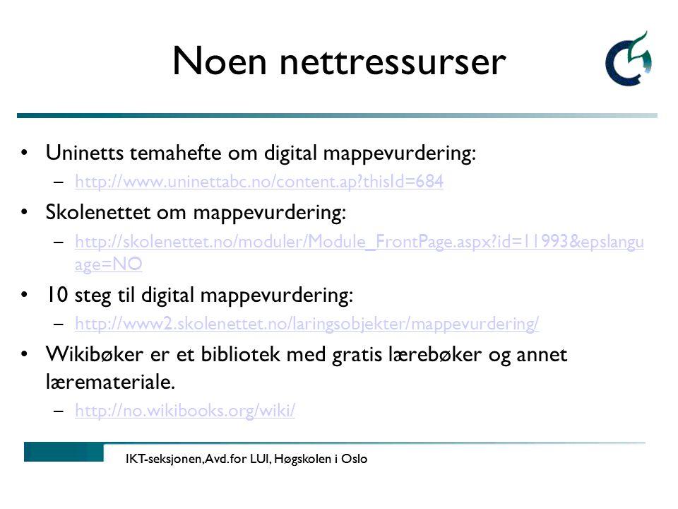 Noen nettressurser Uninetts temahefte om digital mappevurdering:
