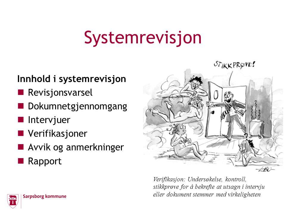 Systemrevisjon Innhold i systemrevisjon Revisjonsvarsel