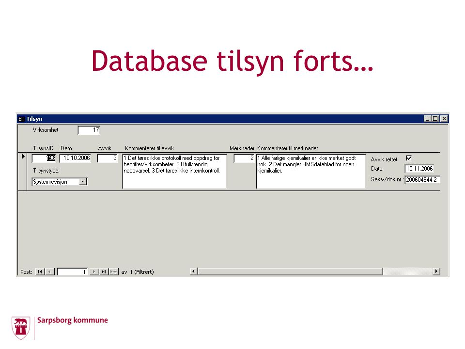 Database tilsyn forts…