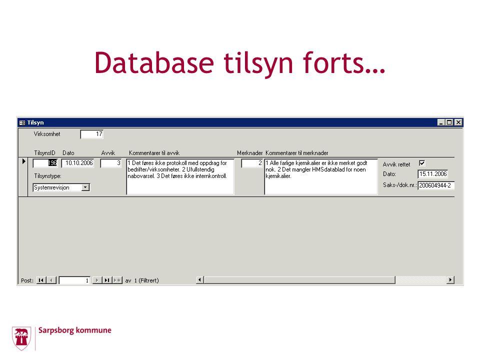 Database tilsyn forts…